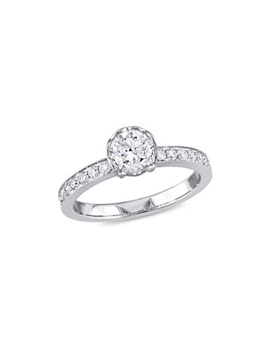Concerto 1 TCW Diamond Raised Engagement Ring with Heart Design Gallery in 14K White Gold-WHITE-6