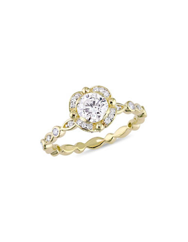 Concerto 1 TCW Diamond Raised Scalloped Engagement Ring in 14K Yellow Gold-WHITE-8
