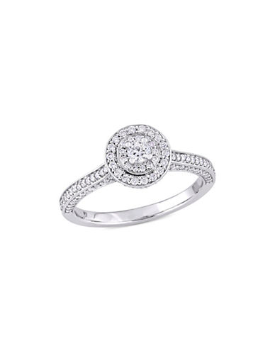 Concerto Diamond Bridal 14K White Gold and 0.5 TCW Diamond Double Halo Engagement Ring-WHITE-9