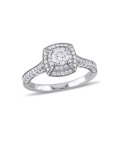 Concerto 1 TCW Diamond Double Halo Vintage Engagement Ring in 14K White Gold-WHITE-6