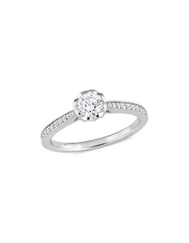 Concerto 0.625 TCW Diamond Raised Engagement Ring with Heart Design Gallery in 14K White Gold-WHITE-9