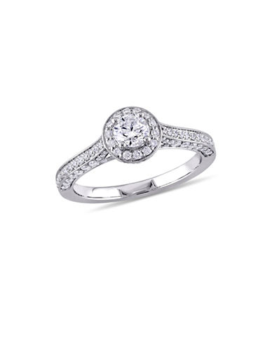 Concerto 1 TCW Diamond Halo Vintage Engagement Ring in 14K White Gold-WHITE-8