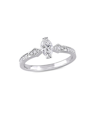 Concerto 0.75 TCW Diamond Vintage Engagement Ring in 14K White Gold-WHITE-8