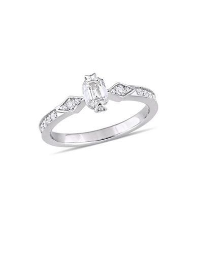 Concerto 0.75 TCW Emerald-Cut Diamond Vintage Engagement Ring in 14K White Gold-WHITE-7