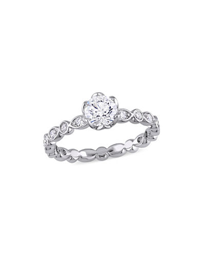 Concerto 1 TCW Diamond Raised Scalloped Engagement Ring with Marquise Design Gallery in 14K White Gold-WHITE-8