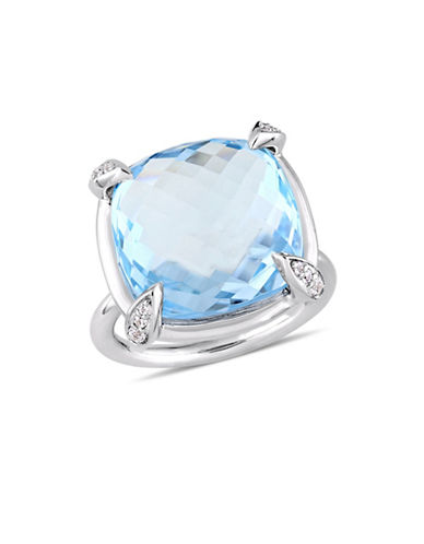 Concerto Blue Topaz, White Sapphire and 14K White Gold Cocktail Ring-BLUE-9