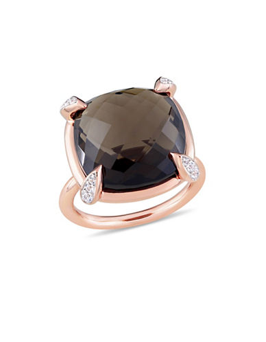 Concerto Smokey Quartz, White Sapphire and 14K Rose Gold Cocktail Ring-PINK-9