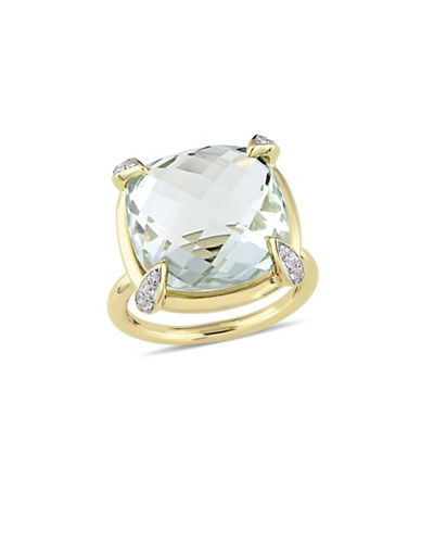 Concerto Green Amethyst, White Sapphire and 14K Yellow Gold Cocktail Ring-GREEN-9