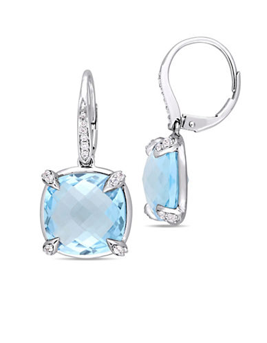 Concerto Blue Topaz, White Sapphire, 0.07 TCW Diamond and 14K White Gold Earrings-BLUE-One Size