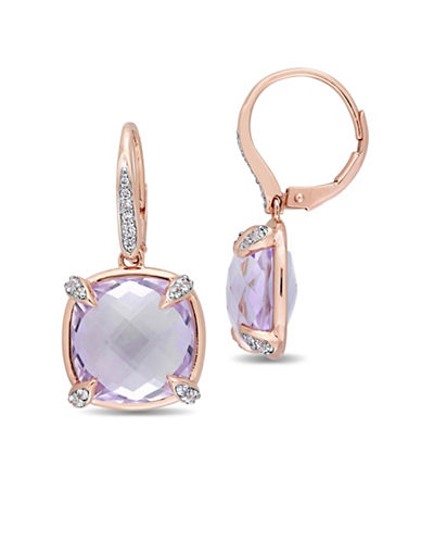 Concerto Rose De France, White Sapphire, 0.07 TCW Diamond and 14K Rose Gold Earrings-PURPLE-One Size