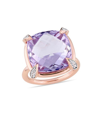Concerto Rose de France, White Sapphire and 14K Rose Gold Cocktail Ring-PURPLE-6