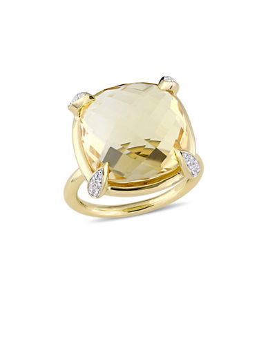 Concerto Citrine, White Sapphire and 14K Yellow Gold Cocktail Ring-GOLD-6