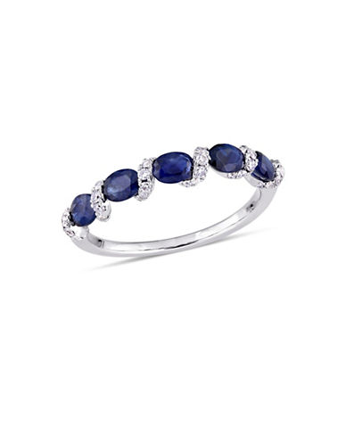 Concerto 14K White Gold Sapphire 0.25 TCW Diamond Ring-BLUE-6