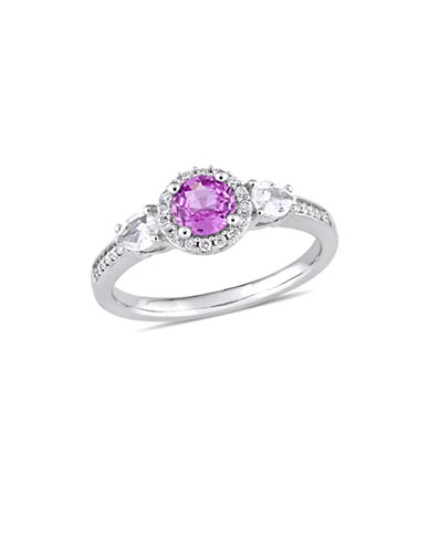 Concerto Pink and White Sapphire with 0.125 TCW Diamond Three-Stone Halo Engagement Ring in 14K White Gold-PINK-7