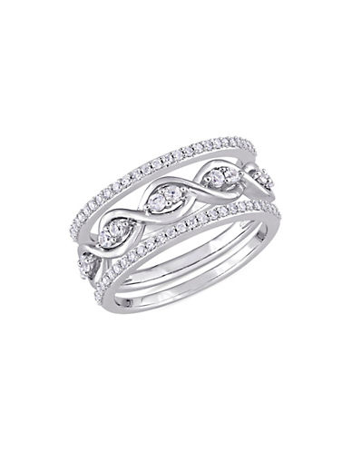 Concerto 0.25 TCW Diamond and White Sapphire Three-Piece Infinity Ring Set in 14K White Gold-BLUE-5