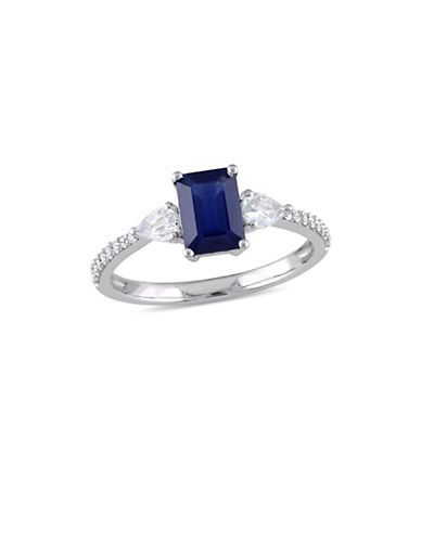 Concerto Blue and White Sapphire with 0.1 TCW Diamond Three-Stone Ring in 14K White Gold-BLUE-8