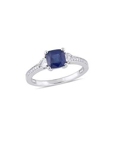 Concerto Blue and White Sapphire with 0.1 TCW Diamond Three-Stone Ring in 14K White Gold-BLUE-9