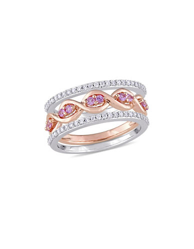 Concerto 0.25 TCW Diamond and Pink Sapphire Three-Piece Infinity Ring Set in Two-Tone 14K White and Rose Gold-PINK-9