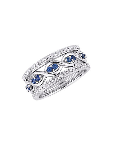 Concerto 0.25 TCW Diamond and Sapphire Three-Piece Infinity Ring Set in 14K White Gold-BLUE-9