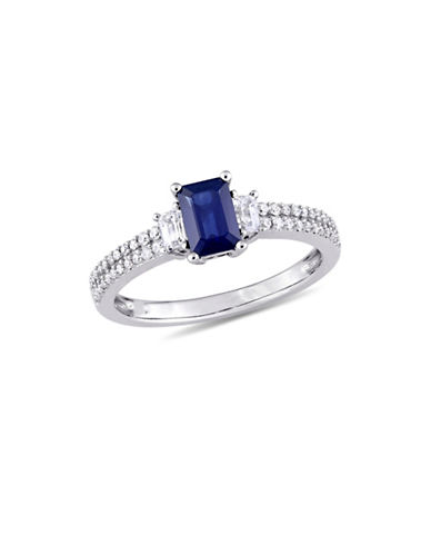 Concerto Blue and White Sapphire with 0.17 CT TW Diamond Three-Stone Ring in 14K White Gold-BLUE-7