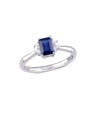 Concerto Blue and White Sapphire Three-Stone Ring in 14K White Gold-BLUE-8