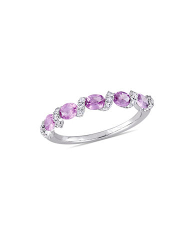 Concerto Pink Sapphire and 0.25 TCW Diamond Ribbon Ring in 14K White Gold-PINK-7