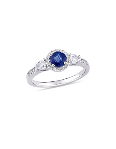Concerto Blue and White Sapphire with 0.125 TCW Diamond Halo Three-Stone Engagement Ring in 14K White Gold-BLUE-6