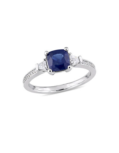 Concerto Blue and White Sapphire, 0.06 TCW Diamond Accent Three-Stone Ring in 14K White Gold-BLUE-9