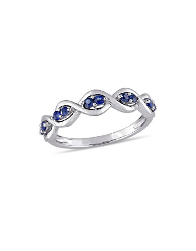 Concerto Sapphire Infinity Anniversary Ring in 14K White Gold-BLUE-8