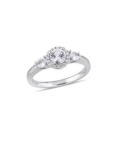 Concerto White Sapphire and 0.125 TCW Diamond Three-Stone Halo Ring in 14K White Gold-WHITE-7