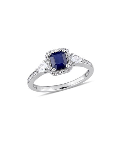 Concerto Blue and White Sapphire with 0.17 TCW Diamond Halo Three-Stone Ring in 14K White Gold-BLUE-9
