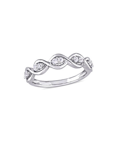 Concerto White Sapphire Infinity Anniversary Ring in 14K White Gold-GOLD-5