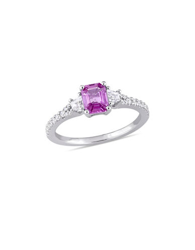 Concerto Pink and White Sapphire with 0.17 TCW Diamond Three-Stone Ring in 14K White Gold-PINK-9