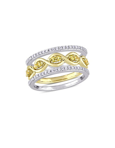 Concerto 0.25 TCW Diamond and Sapphire Infinity Ring Set in Two-Tone Gold-GOLD-9