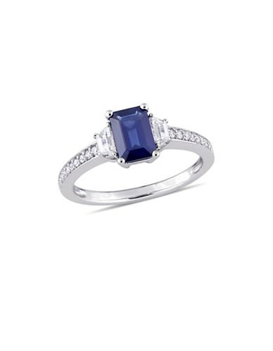 Concerto Blue and White Sapphire with 0.1 TCW Diamond Three-Stone Engagement Ring in 14K White Gold-BLUE-7