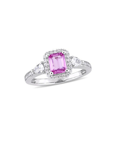 Concerto Pink and White Sapphire with 0.17 TCW Diamond Halo Three-Stone Ring in 14K White Gold-PINK-7