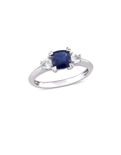 Concerto Cushion-Cut Blue Sapphire and White Sapphire Three-Stone Ring in 14K White Gold-BLUE-8