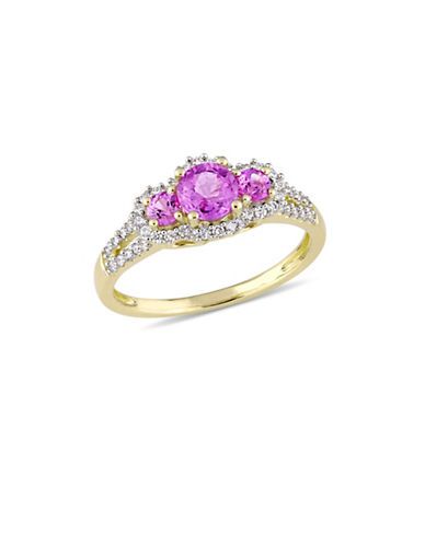 Concerto Pink Sapphire and 0.25 TCW Diamond Three-Stone Halo Ring in 14K Yellow Gold-PINK-8