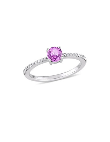 Concerto Pink Sapphire and 0.125 TCW Diamond Solitaire Ring in 14K White Gold-PINK-7