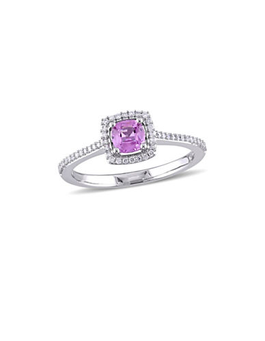 Concerto Pink Sapphire and 0.17 TCW Diamond Square Halo Engagement Ring in 14K White Gold-PINK-7