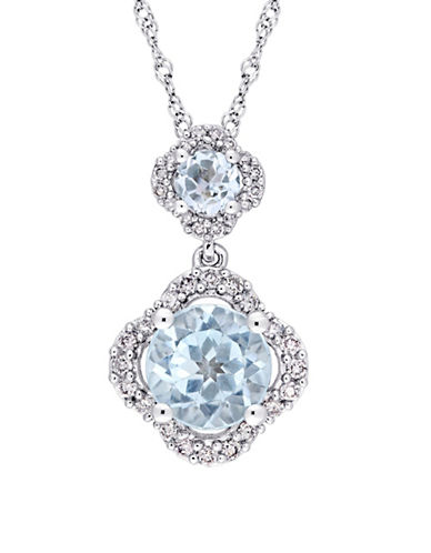 Concerto Blue Topaz and 0.2 TCW Diamond Quatrefoil Tiered Necklace in 14K White Gold-BLUE-One Size
