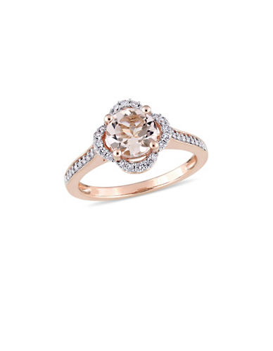 Concerto Morganite and 0.25 TCW Diamond Quatrefoil Halo Ring in 14K Rose Gold-PINK-6
