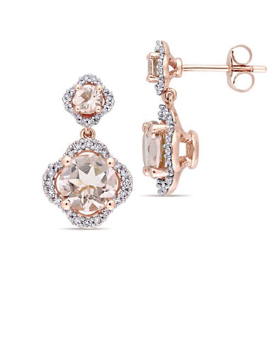 Concerto Morganite and 0.4 TCW Diamond Quatrefoil Tiered Earrings in 14K Rose Gold-PINK-One Size