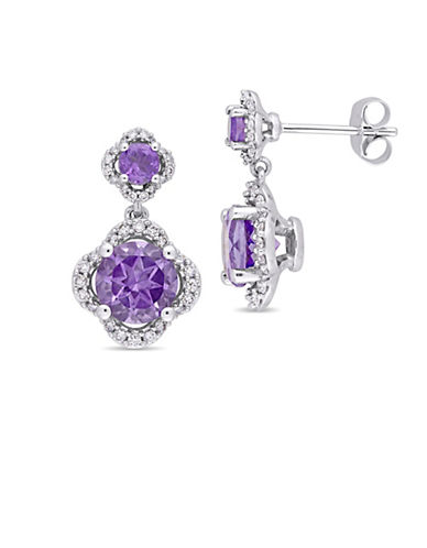 Concerto Amethyst and 0.4 TCW Diamond Quatrefoil Tiered Earrings in 14K White Gold-PURPLE-One Size