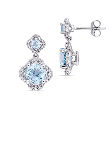 Concerto Blue Topaz and 0.4 TCW Diamond Quatrefoil Tiered Earrings in 14K White Gold-BLUE-One Size