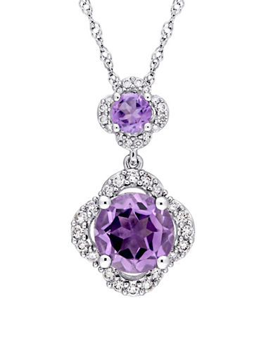 Concerto Amethyst and 0.2 TCW Diamond Quatrefoil Tiered Necklace in 14K White Gold-PURPLE-One Size