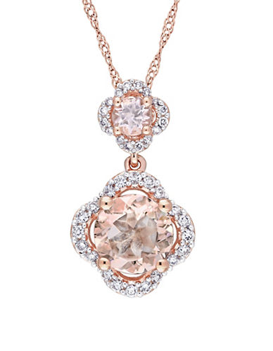 Concerto Morganite and 0.2 TCW Diamond Quatrefoil Tiered Necklace in 14K Rose Gold-PINK-One Size