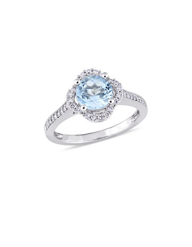 Concerto Blue Topaz and 0.25 TCW Diamond Quatrefoil Halo Ring in 14K White Gold-BLUE-6