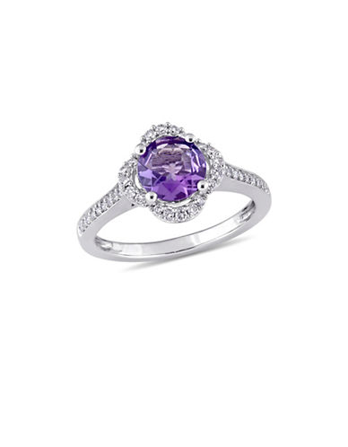 Concerto Amethyst and 0.25 TCW Diamond Quatrefoil Halo Ring in 14K White Gold-PURPLE-6