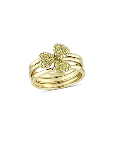 Concerto Yellow Sapphire Heart Three-Piece Stacking Ring Set in 14K Yellow Gold-YELLOW-8